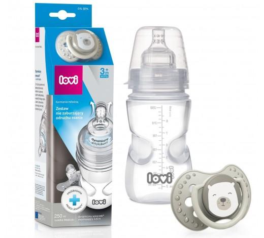 Набор Lovi бутылочка 250 мл + пустышка 3-6 м.  Buddy Bear - 0205exp