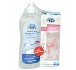 Набор бутылочка Jungle кораловая, 240 мл + Жидкость для мытья бутылочек и сосок 500 мл
