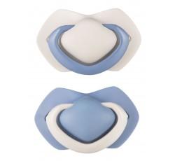 Пустышка силиконовая симметричная 0-6 м, 2 шт. Pure Color - синяя, 22/644_blu