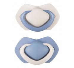 Пустышка силиконовая симметричная 6-18 м, 2 шт. Pure Color - синяя, 22/645_blu
