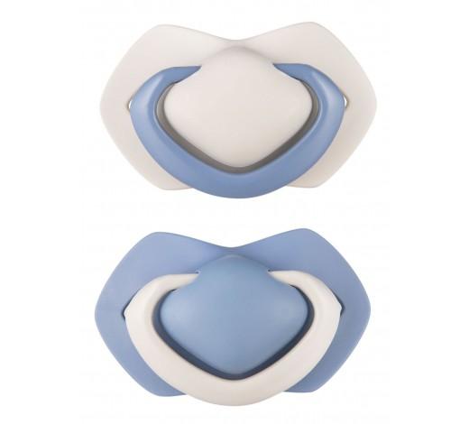Пустышка силиконовая симметричная 18+ м, 2 шт. Pure Color - синяя, 22/646_blu