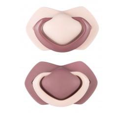 Пустышка силиконовая симметричная 18+ м, 2 шт. Pure Color - розовая, 22/646_pin