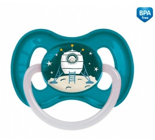 Пустышка латексная круглая 6-18 месяцев Космос- 23/222_blu, Canpol Babies