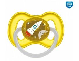 Пустышка латексная круглая 0-6 месяцев Космос - 23/221_yel, Canpol Babies