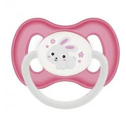 Пустышка силиконовая симметричная 0-6 м Bunny & Company - 23/268_pin, розовая