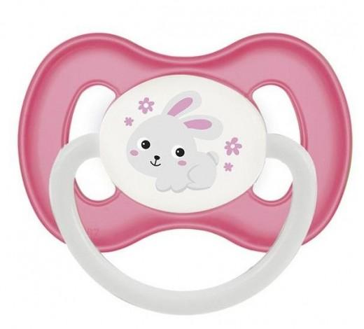 Пустышка силиконовая симметричная 18+ м Bunny & Company - 23/270_pin, розовая