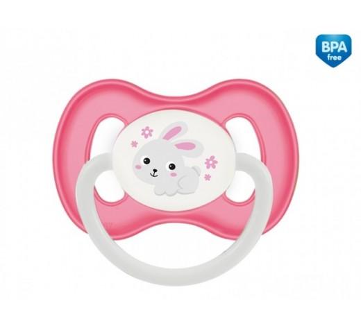 Пустышка латексная круглая 6-18 м - 23/278_pin, Bunny&Company, розовая