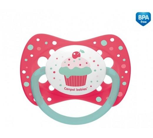 Пустышка силиконовая симметричная 18+ м Cupcake - 23/284_pin