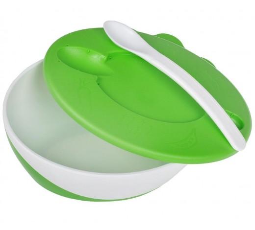 Тарелка-миска с удобной ручкой, крышкой и ложкой зеленая- 31/406_gre