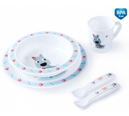 Набор посуды Cute animals, собачка - 4/401_blu, Canpol Babies