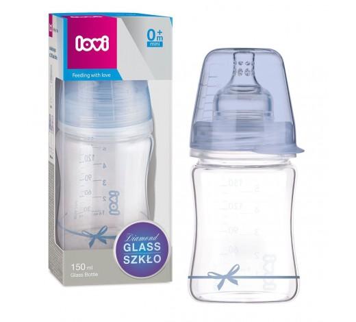 LOVI Бутылочка стеклянная Diamond glass150 мл - 74/104boy, Baby shower