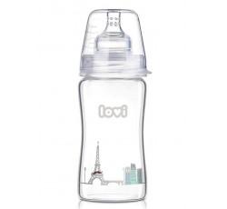 Бутылочка стеклянная LOVI Diamond glass250 мл - 74/203, Retro boy